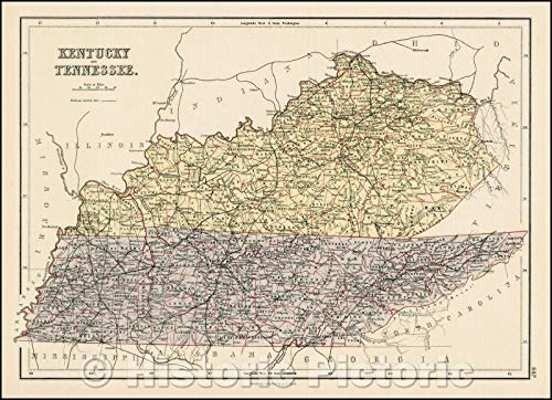 Historic Map | Kentucky and Tennessee, 1869, Adam & Charles Black | Vintage Wall Art 44in x 32in