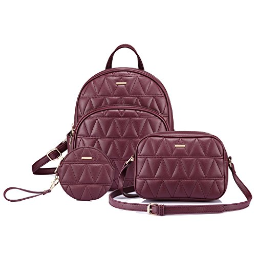 (Backpack Purse Quilted Casual Backpacks Handbags for Women Shoulder Bag Coin bag 3 Pieces Set Purple)