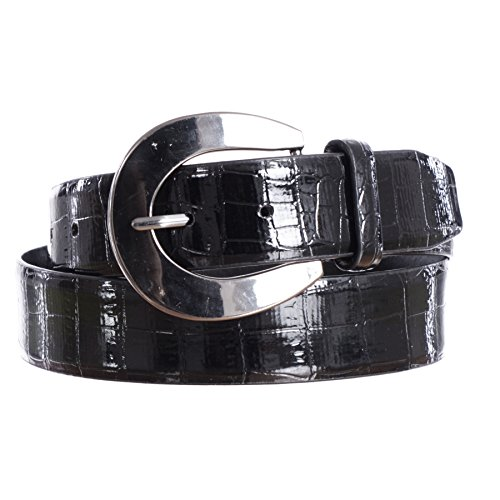 Sunny Belt Women's Fashion Faux Leather Snakeskin Belt (Black, Large)