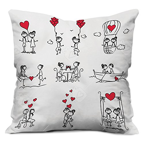 Valentine Gifts for Boyfriend Girlfriend Love Printed Cushion 12X12 Filled Pillow White Couple Love Story illustration Gift for Him Her Fiance Beloved Birthday Anniversary
