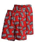 Godsen Men's 2-pack Elastic Cotton Pocket Short Pajama Shorts (X-Small, 2pcGCS15Red)