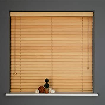 real wood venetian blinds light wood natural long drop 25mm slats 9 widths x 210cm