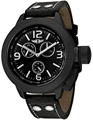 I By Invicta Mens 70113-003 Multi-Function Black Ion-Plated Leather Watch