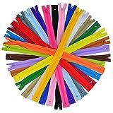 Cremalleras de Nylon de 80 Piezas, Bantoye 16 Pulgadas Cremalleras de Costura de Colores Suministros para Costura a Mano, 20 Colores Surtidos