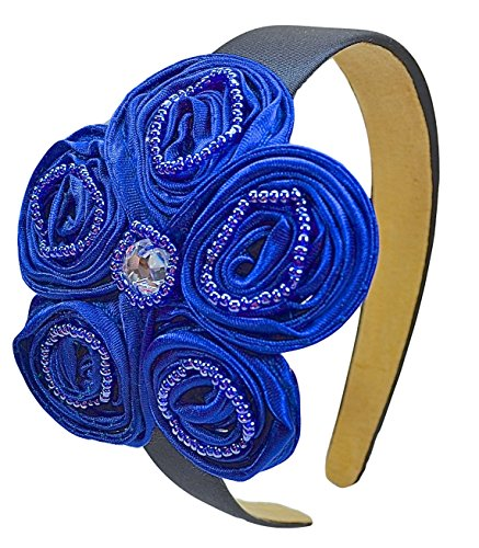 Royal Blue Band Arch - Kate Satin Flower Girls Holiday Arch Headband (Royal Blue)