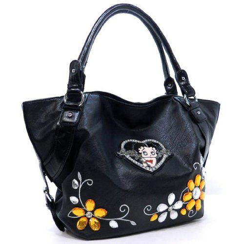 Betty Boop Black Orange Flora L Rhinestone Satchel Bag Ha...