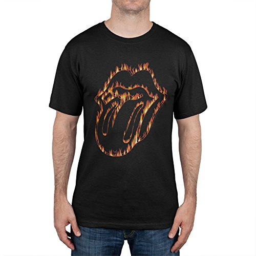 Flaming Rolling Lips Stone - Rolling Stones - Flaming Tongue T-Shirt - Small