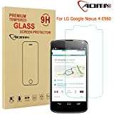 Aomax® For LG Google Nexus 4 E960 Tempered Glass Screen Protector [Superslim 0.26mm,2.5D Round Edge,9H Hardness] [Retail Package] For(LG Google Nexus 4 E960)New