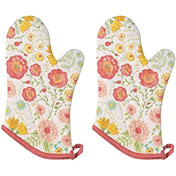 Now Designs Basic Oven Mitt, Floret, Set of 2