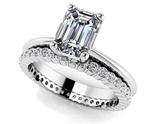 Or blanc 14K Lumière éternelle Émeraude Solitaire de mariage Ensemble