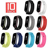 XIHAMA Xiaomi Mi Band 3 Replacement Band, Silicon Sport Colorful Replacement Strap Wristband Accessories for Xiaomi Mi Band 3 Smart Bracelet (10pcs) For Sale