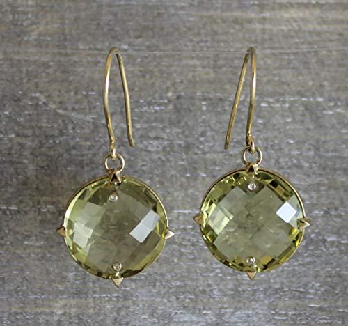 Lemon Citrine Gemstone - Citrine Lemon Quartz Gemstone 14kt Yellow Gold Drop Earrings Gifts for Women