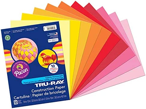 """Pacon Tru-Ray Construction Paper, 9"""" x 12"""", 50-Count, Bright Assorted (102940)"""