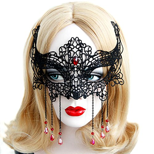 Jeeper Creeper Costume (QTMY Sexy Black Lace Tassel Eye Mask with Drop Beads for Halloween Party Costume)