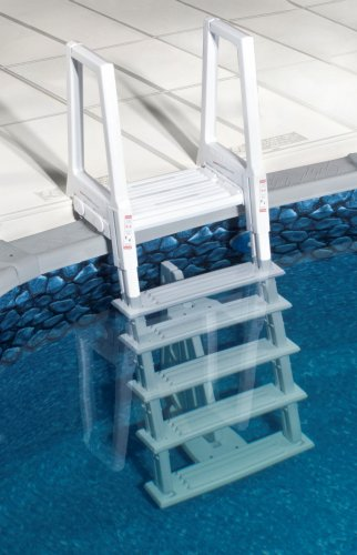 Ground Ladder Above (Blue Wave NE1175 Heavy Duty In-Pool Ladder - White)