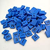 100PCS Letters Tile Games Emubody Wooden Scrabble Tiles Black Letters Numbers For Crafts Wood Alphabets, Blue