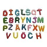 greatfun 26letras a a Z, imán para nevera de dibujos animados Kid de madera juguete educativo para niños bebé