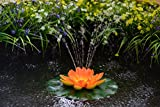 ASC Solar Powered Water Floating Lotus Fountain with Water Pump (Orange/Yellow)