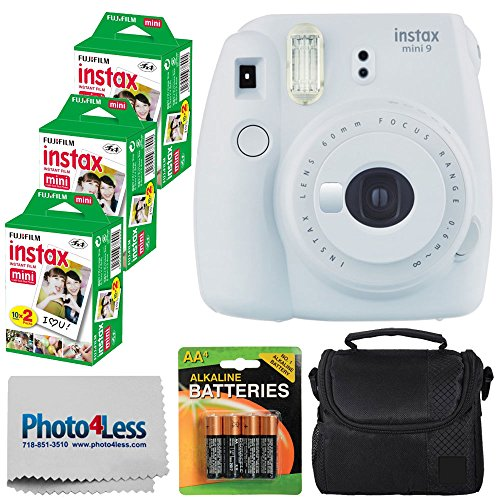 Fujifilm instax mini 9 Instant Film Camera (Smokey White) + Fujifilm Instax Mini Twin Pack Instant Film (60 Shots) + Compact Camera Case + 4 AA Batteries + Cleaning Cloth – Full Accessory Bundle