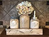 Ball Mason Jar CANISTER 5pc SET with galvanized lid Antique WHITE wood Tray ~Utensil matcha tea holder Soap Dispenser Kitchen Bathroom counter decor (flower optional) JARS Distressed Gray Tan Cream Review