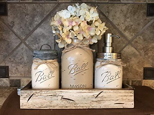 Ball Mason Jar CANISTER 5pc SET with galvanized lid Antique WHITE wood Tray ~Utensil matcha tea holder Soap Dispenser Kitchen Bathroom counter decor (flower optional) JARS Distressed Gray Tan Cream ()
