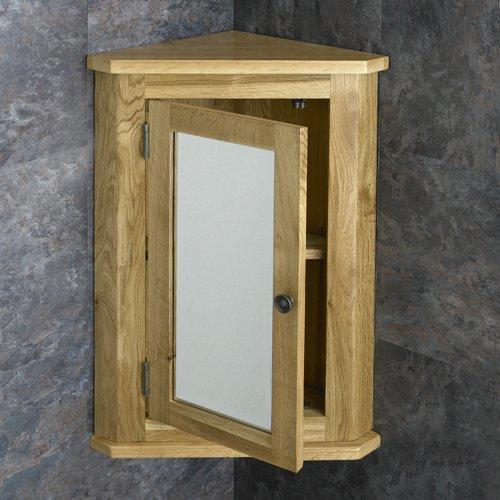 Solid Oak 60cm Tall By 42.5cm Wide Single Mirror Door Corner Wall Mounted  Bathroom Cabinet