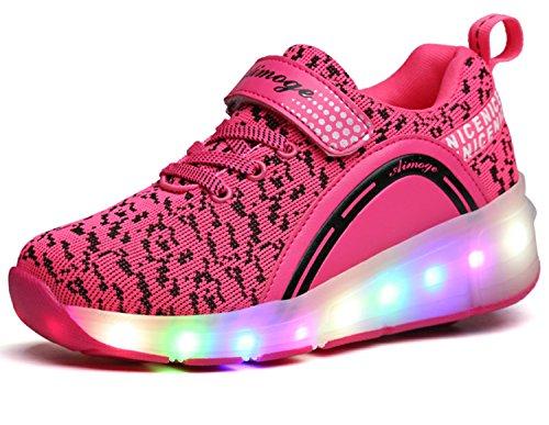 ECOTISH Junge Mädchen Dchen LED Schuhe mit Rollen Herren Skateboard Rollschuhe Damen Sneaker Leuchtend Sport Schuhe Sportschuhe Wanderschuh für Unisex-Kinder