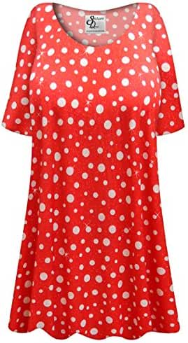 Red w/White Polka Dots Glittery Slinky Plus Size Extra Long A-Line Top