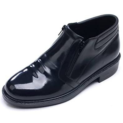48348b9378 EpicStep Men s Black Genuine Cow Leather Dress Formal Business Casual Zip  Shoes Ankle Boots Oxfords Loafers