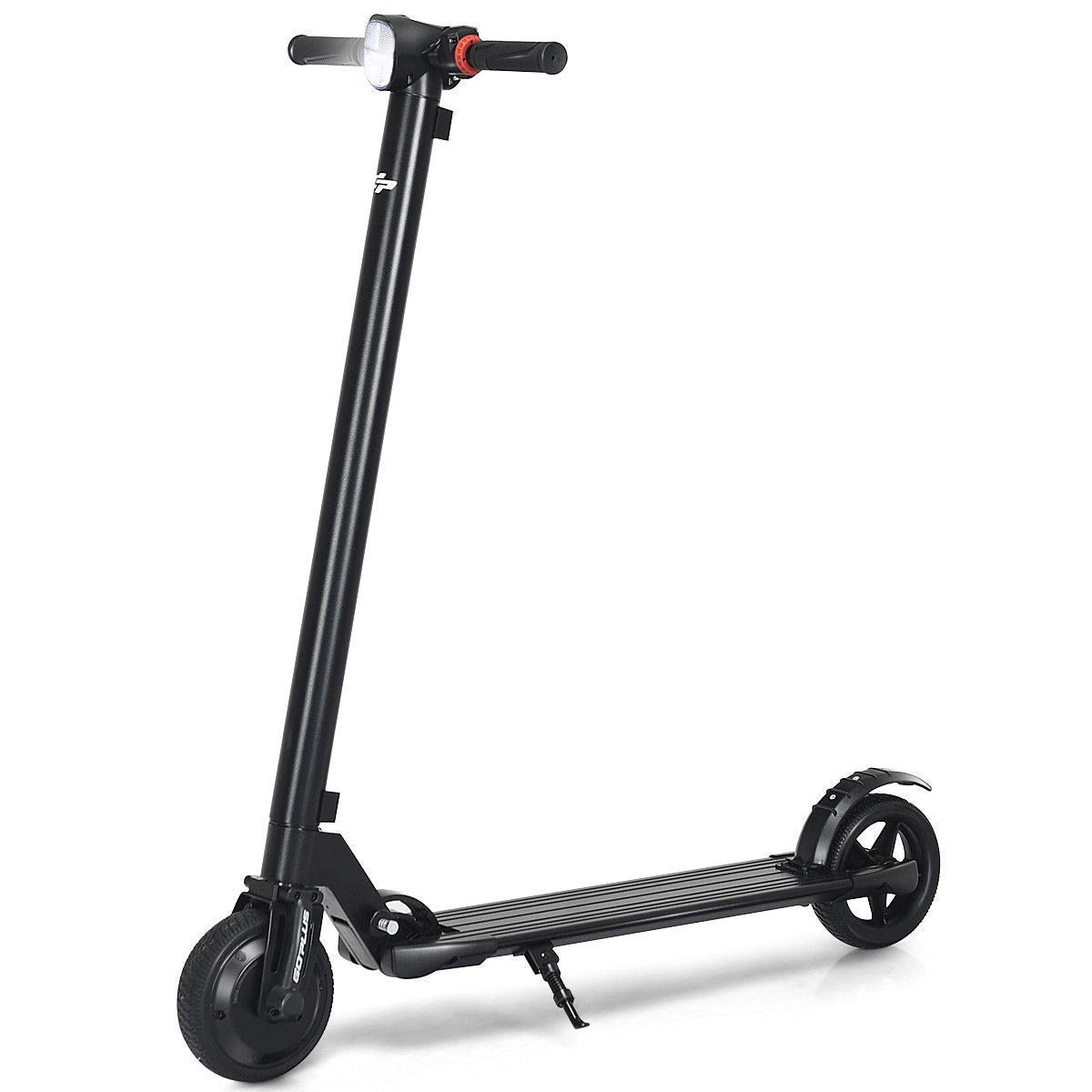 Goplus Foldable Electric Scooter, Ultra-Lightweight Portable Kick Scooter, 14 MPH Up to 6 Miles Long-Range Battery, Headlight, 6.5'' Tires with Cruise Control (Black)