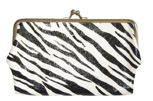 TOPCHOICE Women's Zebra Print Double Kisslock Clutch (Leather Framed Clutch Wallet)