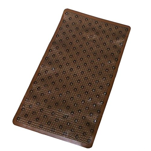 HomeCrate Vinyl Non-slip Brown Rings Design Bathtub Mat With Ultra Secure Suction Cups