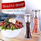 Salt and Pepper Grinder Set -Dry Spice Mill-Brushed Stainless Steel Glass- Pepper Mill and Salt Mill-Adjustable Ceramic Motor-Peppercorns Sea Salt-Fine and Coarse Ground by Surround Point