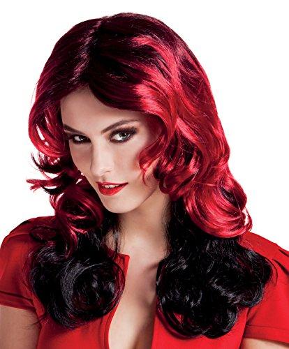 Adult Halloween Black & Red Curly Devil/Vampire Fancy Dress Wig ()