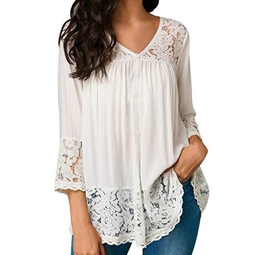 HGWXX7 Womens Tops 3/4 Sleeve Loose Lace Bandage V-Neck Blouse T Shirts(XL,White-2)