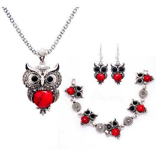 Bijoux Kids - Juego de 3 joyas, diseño de lechuza, color plateado y rojo