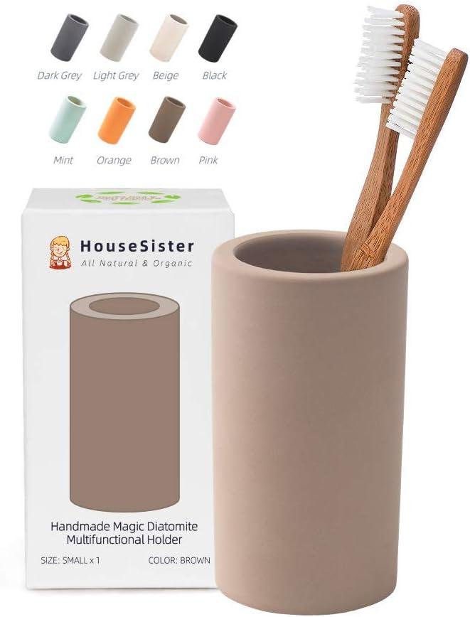 color gris Diatomita y arcilla Soporte para cepillos de dientes y pasta de dientes org/ánica beige HouseSister Small