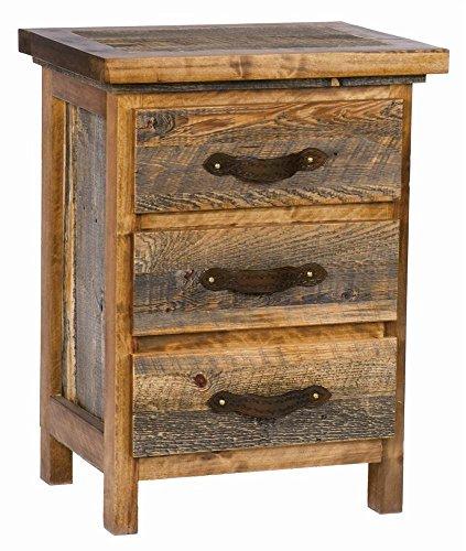 3 Drawer Rustic Wood Nightstand (Dark Bronze)
