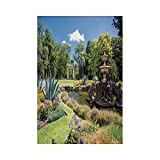 Polyester Garden Flag Outdoor Flag House Flag Banner,Country Decor,Fitzroy Gardens Summer Day View Fountain Historical Iconic Tourist Attraction,for Wedding Anniversary Home Outdoor Garden Decor