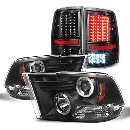 For 2009-2018 Dodge Ram 1500 2500 3500 Black Halo Projector Headlights Pair + Black LED Tail Lights Left+Right Combo ()