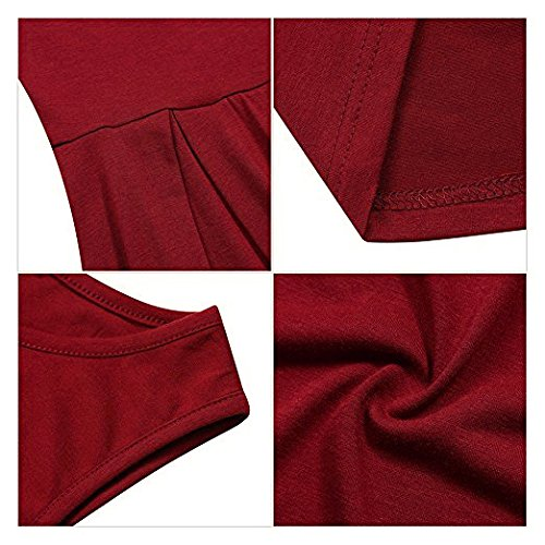 MISSKY Women Sleeveless Round Neck Knee Length Fit Flare Swing Casual Vintage Dress (L, Burgundy-90) by MISSKY (Image #4)