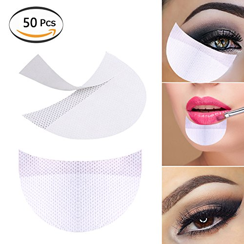 Stickers Makeup - Bysiter 50 Pcs Eyeshadow Shields Professional Lint Free Under Eye Eyeshadow Gel Pad Patches For False Eyelash Extensions Sticker/Lip Makeup (White)