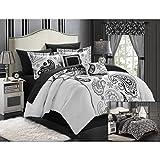 Chic Home 20-Piece Olivia Paisley Print Reversible Comforter Set, Queen, White/Black
