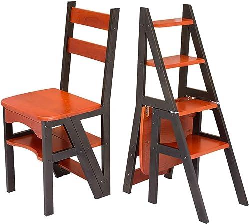 Taburetes de madera para la cocina, Silla de escalera de biblioteca convertible multifuncional de madera natural Escalera de tijera de cuatro escalones, Taburete de escalera decorativo, Silla de tab: Amazon.es: Hogar
