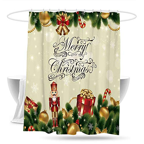 (youLookme Polyester Shower Curtain ChristmasNoel Ornaments with Birch Branch Cute Ribbons Bells Candy Canes Art Image Bathroom Curtain Washable Polyester 70in×70in Golden Red Green)