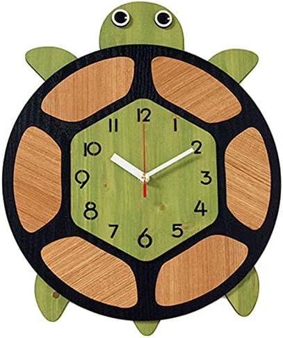 Bronzehouse Natural Wood Wall Clock Silent Non-Ticking Quartz Movement Decorative Clock Turtle