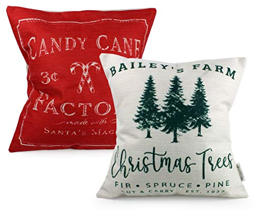 AuldHome Christmas Throw Pillow Covers (Set of 2); Christmas Tree & Candy Cane Themed Holiday Cushion Covers, 16 x 16 Inches