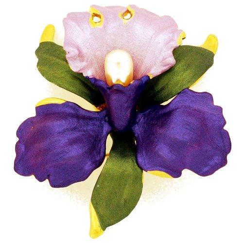 Fantasyard Purple Orchid Flower Brooch Pin