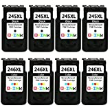 QINK for PG-245XL Black CL-246XL Color Ink Cartridge Remanufactured High Yield High Capacity (4BK+4C)