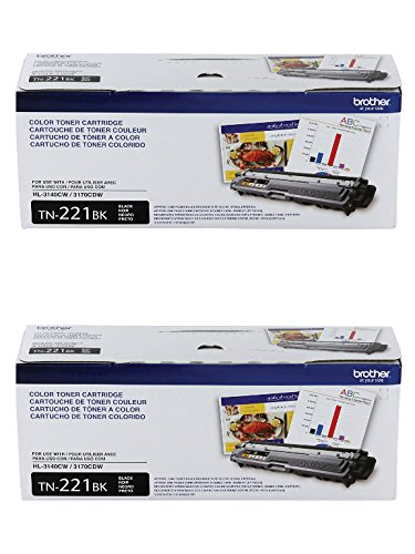 (Brother Genuine TN-221BK (TN221BK) Black Laser Toner Cartridge 2-Pack)